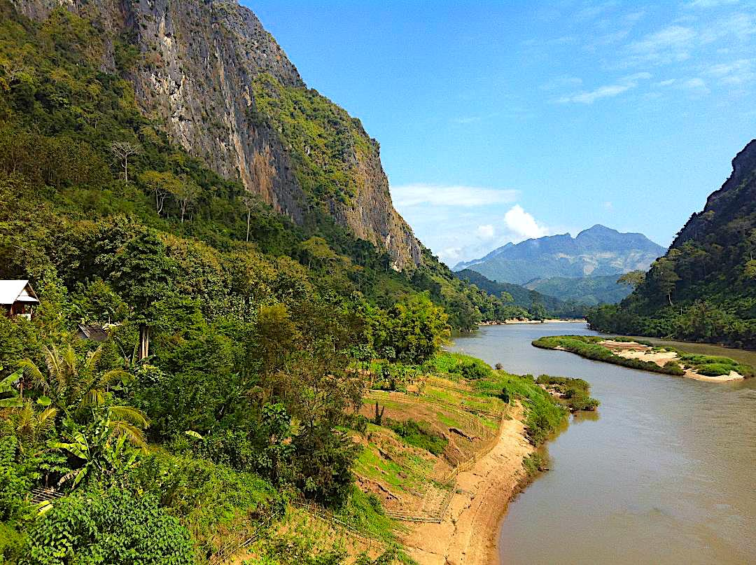 Farm huts overlooking the Nam Ngum River in Laos